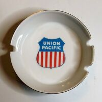 Union Pacific Railroad Ashtray, White, Notches on Sides, 4 3/8 Inches Diameter