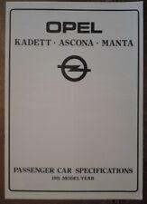 OPEL KADETT ASCONA MANTA orig 1981 UK Mkt Specifications Brochure - Specs