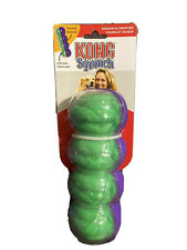 Kong Sqrunch Dumbbell Large Green/Purple Squeak Crunches Dog Toy