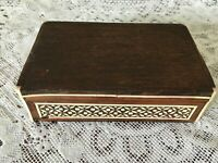 Vintage Anglo Indian wooden box with inlaid micro mosaic design