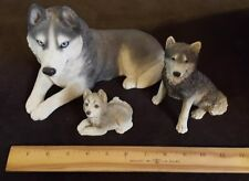 Set Of 3 Wolf/Husky Collectible Figures