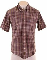 TIMBERLAND Mens Shirt Short Sleeve Small Multicoloured Check Classic Fit  LN12