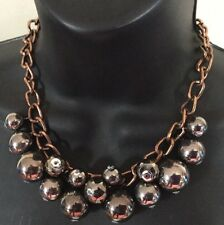 Chunky Faux Pearl Necklace Big Metallic Mirror Beads Copper Metal Chain Rock 90s