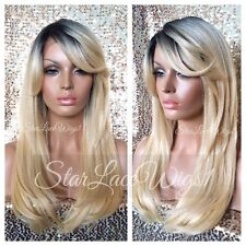 Lace Front Wig Human Hair Blend Straight Blonde Dark Roots Bangs Heat Safe Ok