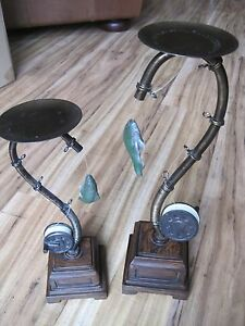 Set Of 2 FLY FISHING Pillar Candle Holders Rustic Lodge Cabin Staging New/Box