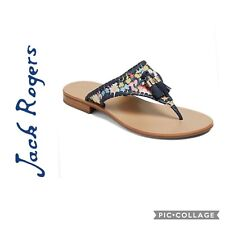Jack Rogers Navy Floral Alana Thong Sandal Size 9 Blue Leather