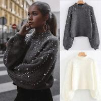 Turtleneck Knitted Women Sweater Autumn Winter Crop Tops Jumper Loose Pullover