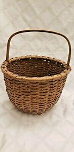 Antique Primitive Split Oak Bent Handle Basket