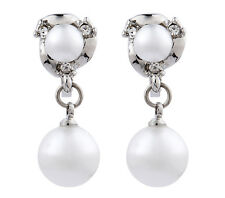 CLIP ON EARRINGS - silver drop pearl earring with crystal diamantes - Harper