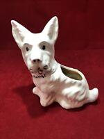 Vintage White Ceramic Terrier Scottie Scotty Dog Planter Mickey