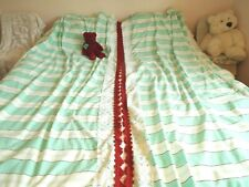 Vintage mint green white stripe cotton long lined curtains lace red fringe trim