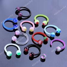 10x Punk Mixed UV Colorful Round Ball 16g Barbell Nose Horseshoe Rings Piercing