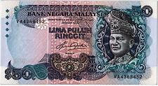 MALAYSIA 5TH RM50 AZIZ TAHA 1ST PREFIX VA368452  UNC