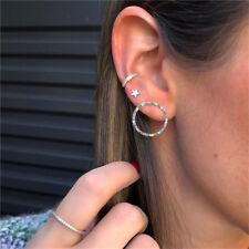 3 Pcs Crystal Colorful Circle Earring Set Star Ear Hoop Cuff Earrings LH