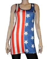 USA FLAG AMERICAN WHITE STARS STRIPE LONG VEST TOP FANCY DRESS 8-22 OLYMPICS