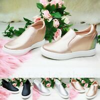 LADIES WOMENS INNER HEEL WEDGE TRAINERS LOW TOP SLIP ON ANKLE BOOTS SHOES SIZE