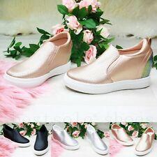 Señoras Mujeres Zapatillas Low Top de Cuña Tacón Interno Sin Cordones Botas al Tobillo Zapatos Talla