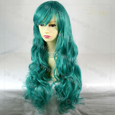 Wiwigs Supermodel Long Turquoise Green Curly Cosplay Party Hair Ladies Wig
