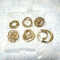Lot Of 6 Vtg To Now Gold Tone Brooch Swirl Faux Pearl Pin Costume Jewelry