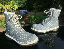 Dr. Martens Castel blue white spotted canvas 8-eyelet boots UK 5 EU 38 US 7