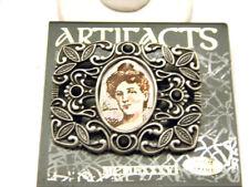 JJ Jonette Vintage Pewter Picture Frame Brooch with Black Rhinestones Pin Active