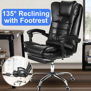 Executive Office Chair Swivel Computer Gaming Chair Recliner Leather Desk Seat