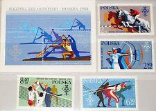POLAND POLONIA 1980 2674-77 blocco 81 2380-83 b138 Olympics 1980 Moscow Archery MNH
