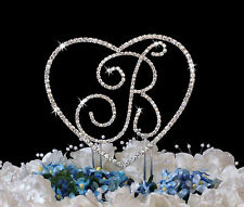 Crystal Renaissance Monogram Wedding Cake Top Letter & Heart