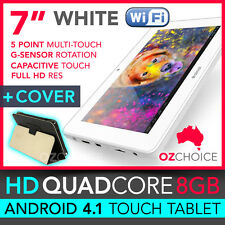 "8GB 7"" ANDROID 4.1 QUAD CORE TOUCH SCREEN TABLET CAPACITIVE WHITE + CASE COVER"