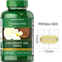Puritan's Pride Coconut Oil 1000 mg x120 Softgels Energy Lift For Overall Health