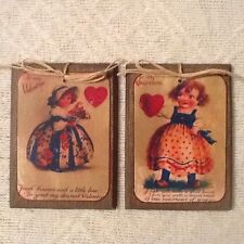5 Handcrafted Wood PRiM Grungy Valentine's Day HangTags/Ornaments/GiftTags Set.5