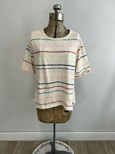 Anthropologie Postmark Striped Knit Cotton Short Sleeve Top Size M