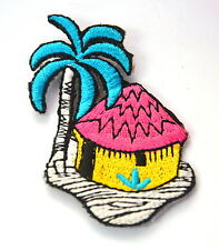 BEACH HUT PALM TREE ISLAND Embroidered Iron Sew On Cloth Patch Badge  APPLIQUE