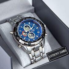 Reloj Pulsera Anthony James Para hombres de Cuarzo Analógico Deportes Diseñador Esfera Azul SRP £ 440