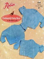 """~ Vintage 1950's Robin Baby Knitting Pattern For Three Cardigans ~ 19"""" ~ 20"""""""