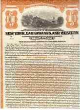 NEW York Lackawanna and Western Railroad 1923 1000 $Bond