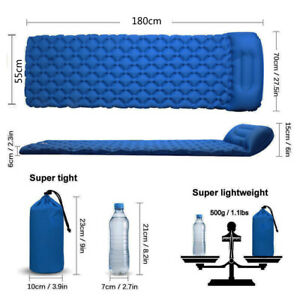 Blue Inflatable Camping Mattress Air Mat Sleeping Pad Hiking Roll Up Bed Mat