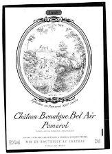 POMEROL ETIQUETTE CHATEAU BONALGUE BEL AIR 1986 75 CL     §11/03§