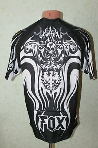 Fox Cycling Jersey Shirt Bike Cycle Skull Skeleton Size M Adult Mens Black White
