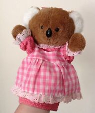 Vintage 1980s Dakin Hand Koala Bear In Pink Dress