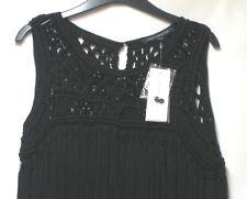 NEW FRENCH CONNECTION BOHO BLACK MACRAME FRINGED BODYCON DRESS UK 12