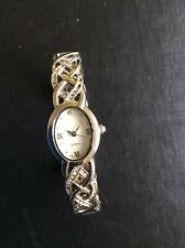 SILVERTONE LADIES BANGLE AND SIMULATED DIAMOND QUARTZ WATCH - NEW BATTERY /BOXED