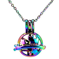 C804 Rainbow Color Star Cat Locket Necklace Beads Pearl Cage Pendant