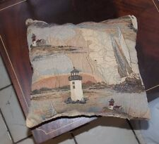 Beige Brown Lighthouse Print Decorative Pillow 13 x 12