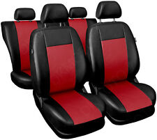Universal CAR SEAT COVERS full set fits Renault Clio leatherette Red/Black