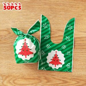 50 Pcs Xmas Candy Packaging Bags Cookie Biscuit Gift Bags Christmas Bag Plastic