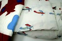 Pottery Barn Kids Vintage Airplane Sheet Set Twin Flat Fitted Sham with issues