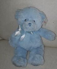 "BABY GUND Blue MY FIRST TEDDY BEAR w/ bow Plush Stuffed Animal Toy Lovey 11"" NWT"