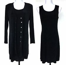 Rabbit Designs Set Slinky Black Sheath Dress & Cardigan Travelers Stretch Knit