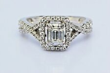 1.00ct Baguette and Round Diamond 14K White Gold Engagement Ring